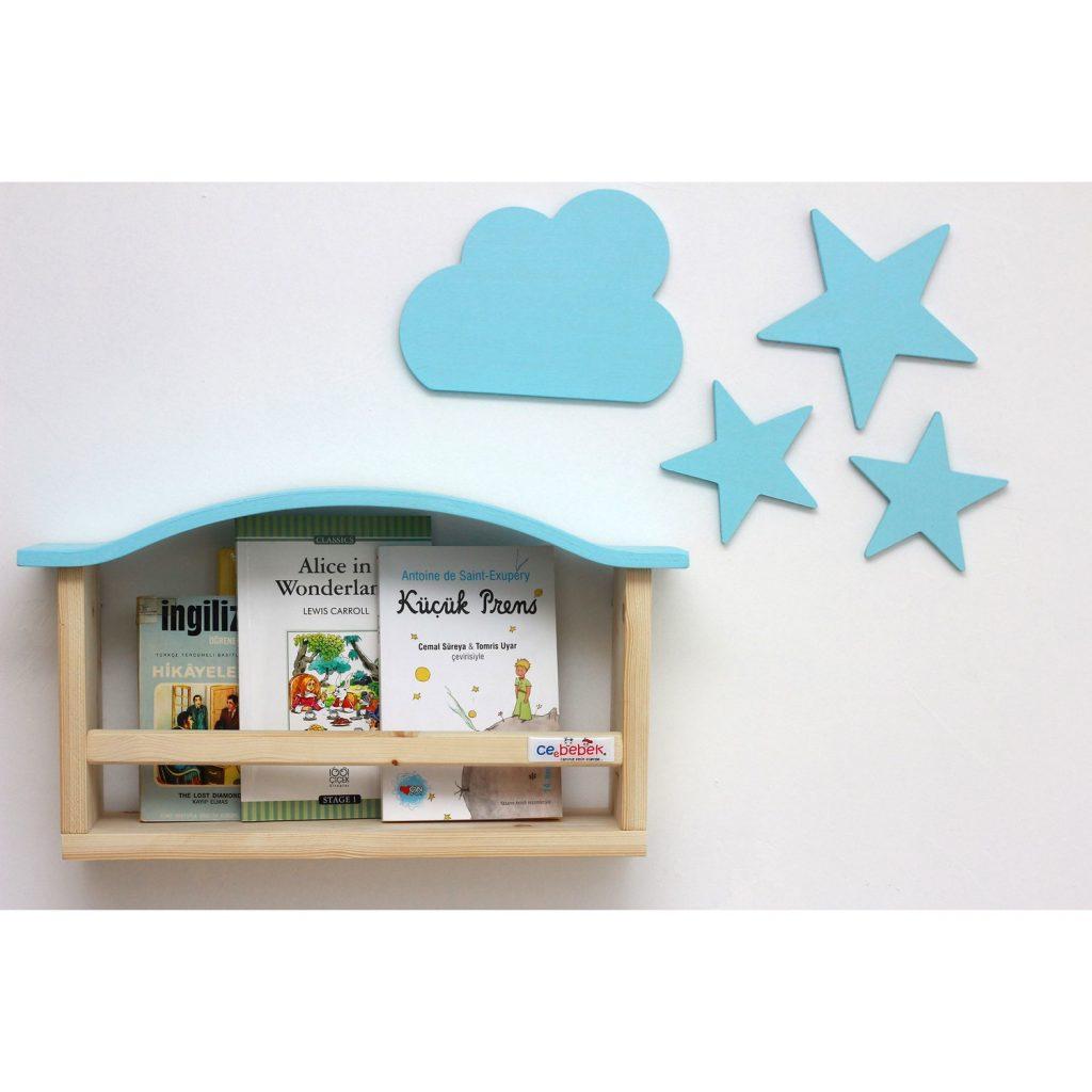 Ceebebek Ahşap Bebek Çocuk Odası Duvar Raf Kitaplık