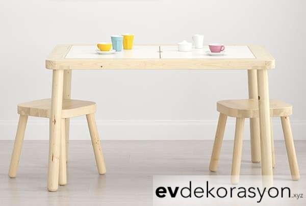 İkea Çocuk Masa Sandalye Takımı Ahşap Model