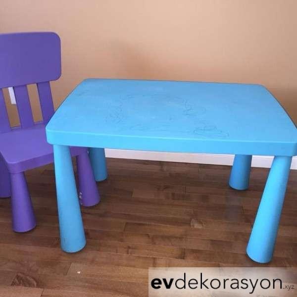 İkea Renkli Çocuk Masa Sandalye Seti