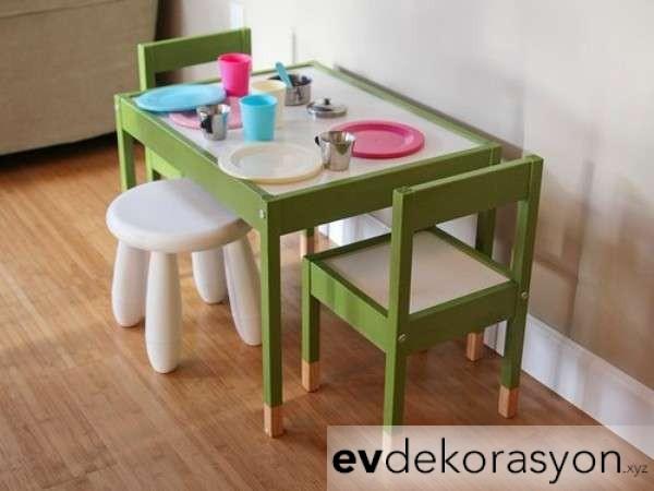 İkea Yeşil Renk Ahşap Çocuk Masa Sandalye Takımları 2019