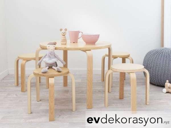 İkea Yuvarlak Ahşap Çocuk Sandalye Masa Takımı