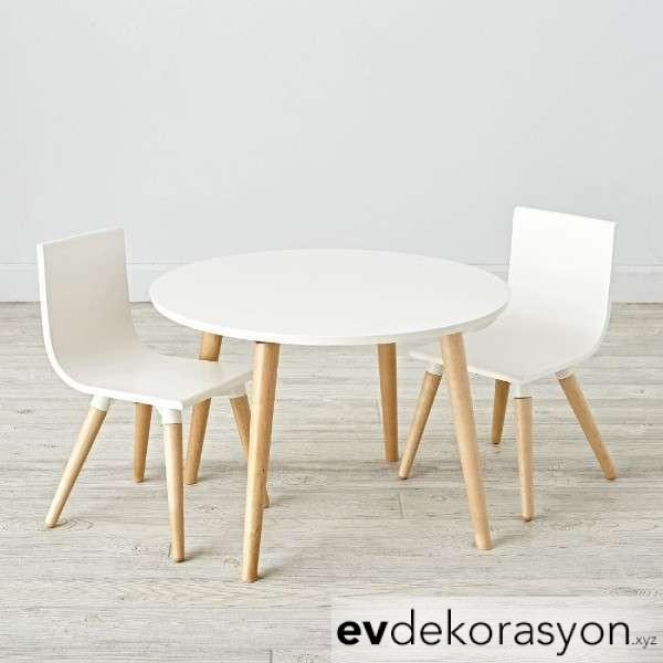İkea Yuvarlak Sırt Yaslamalı Çocuk sandalye ve masa takımı