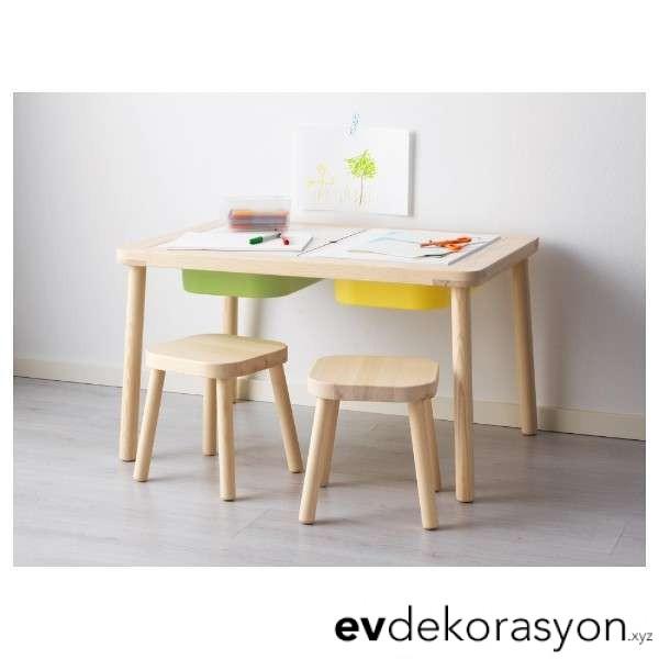 İkea ahşap çocuk masa sandalyeleri