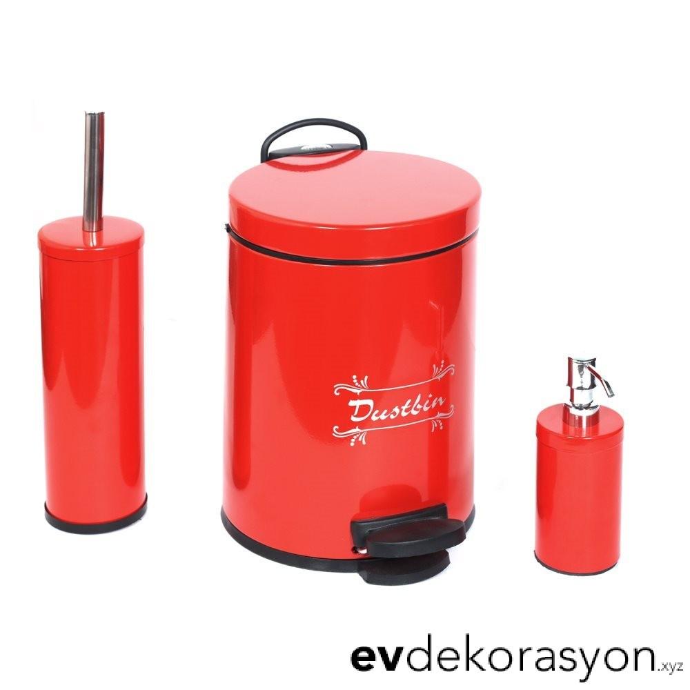 Kırmızı Renk Tuvalet Fırçası ve Banyo Kovası Seti