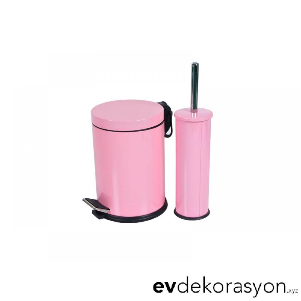Krom Pembe Renk Pedallı Çöp Kovası