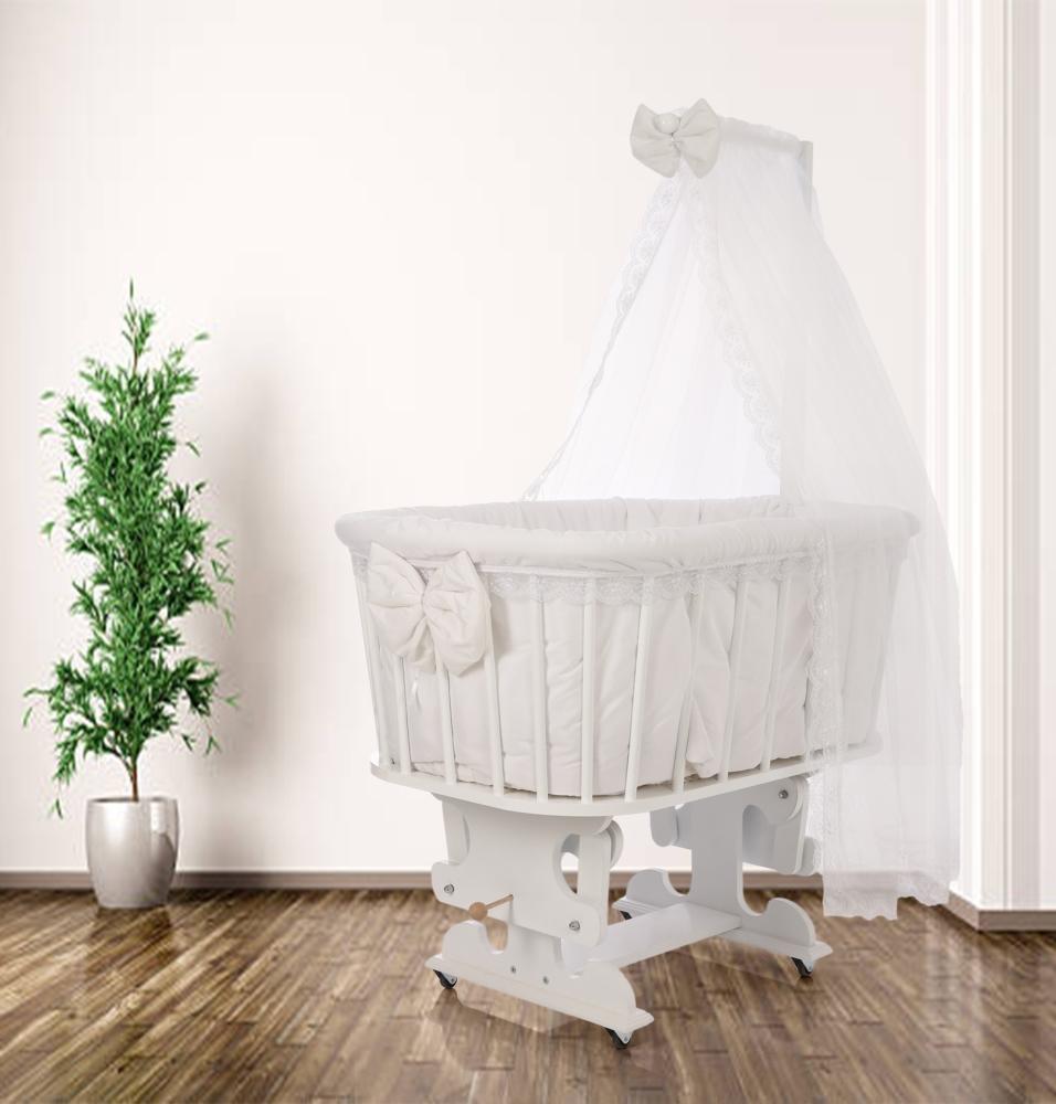 Nutty Baby Duru Beyaz Sepet Bebek Beşiği