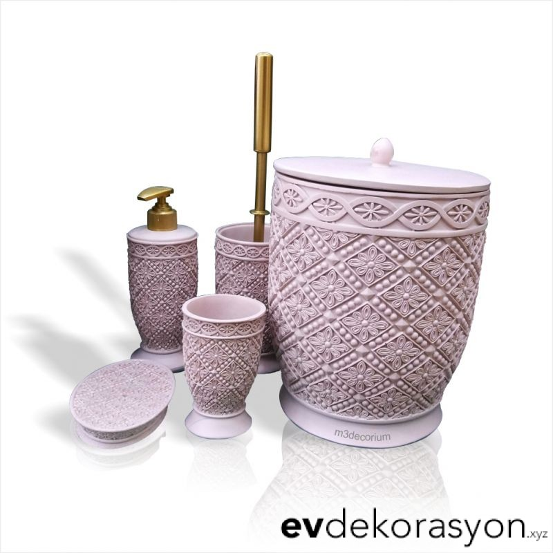 Pembe WC Fırçası Banyo Çöp Kovası Seti