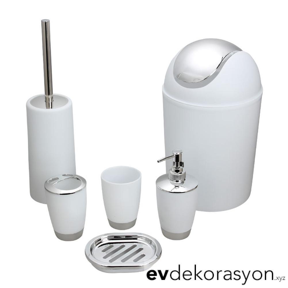 Plastik Banyo Tuvalet Çöp Kutusu Fırça Seti