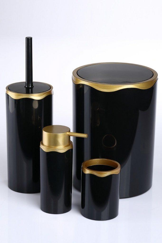 Siyah Altın Akrilik Banyo WC Takımı