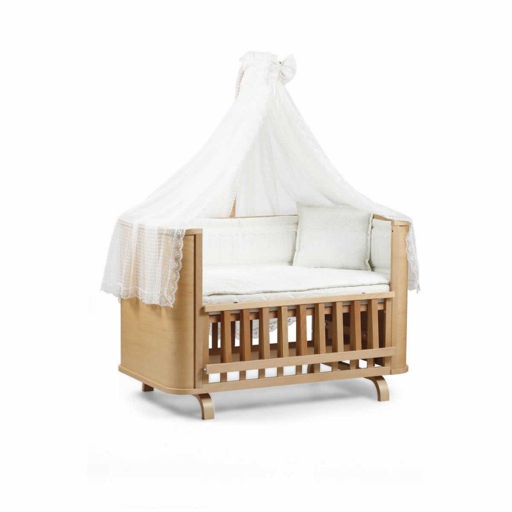 tahterevalli milan bebek karyolası ve uyku seti naturel krem