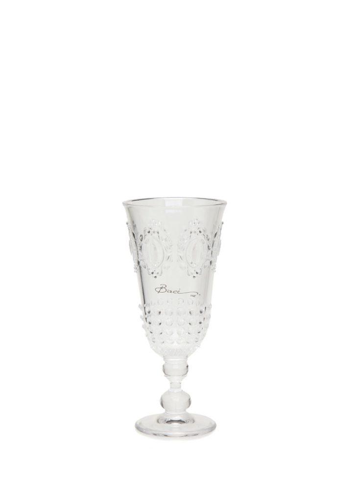 BACI MILANO Şeffaf Kenarı Platin Yaldız Detaylı Likör Bardağı