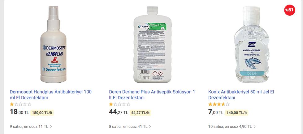 Dezenfektan Fiyatları