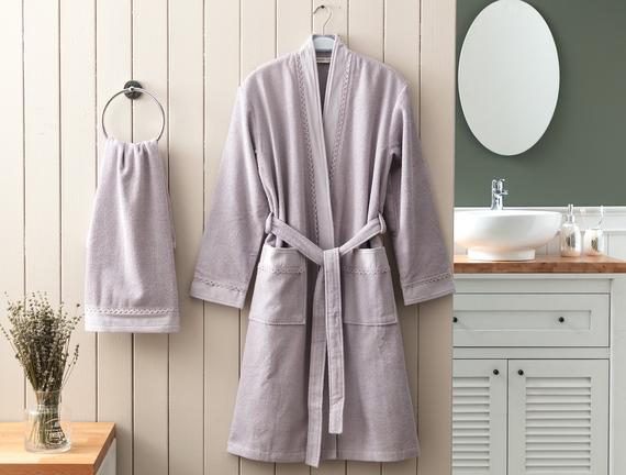 Allard Kimono Dantelli Kadın Bornoz Seti Mürdüm Fiyatı 186.99TL