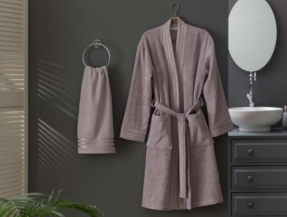 Eliza Kimono Floşlu Kadın Bornoz Seti Açık Mürdüm Fiyatı 140.24TL