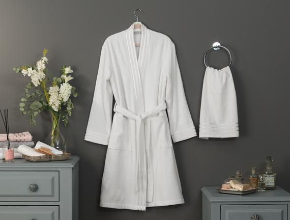 Eliza Kimono Floşlu Kadın Bornoz Seti Ekru Fiyatı 140.24TL