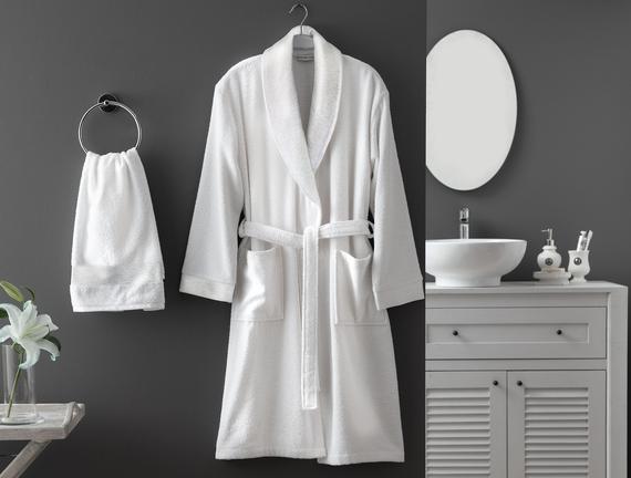 Kerman Şalyaka Lurexli Kadın Bornoz Seti - Beyaz/Gri Fiyatı 161.49TL