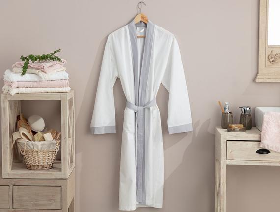 Platt Kimono Percale Bornoz Beyaz / Gri Fiyatı 93.49TL