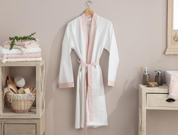 Platt Kimono Percale Bornoz - Beyaz / Pudra Fiyatı 93.49TL