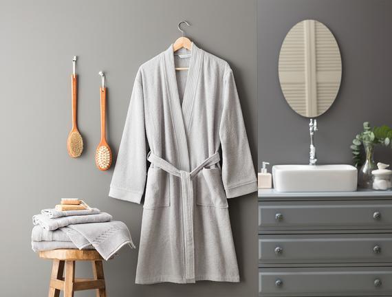 Ryella Kimono Unisex Bornoz Gri Fiyatı 140.24TL