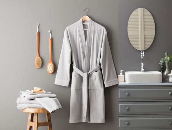 Stripe Kimono Unisex Bornoz Gri Fiyatı 161.49TL
