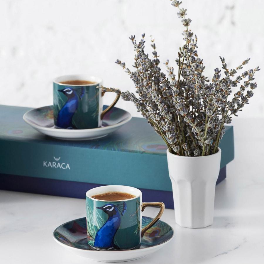 Karaca Peacock 4lü Tavuskuşlu Kahve Fincanı