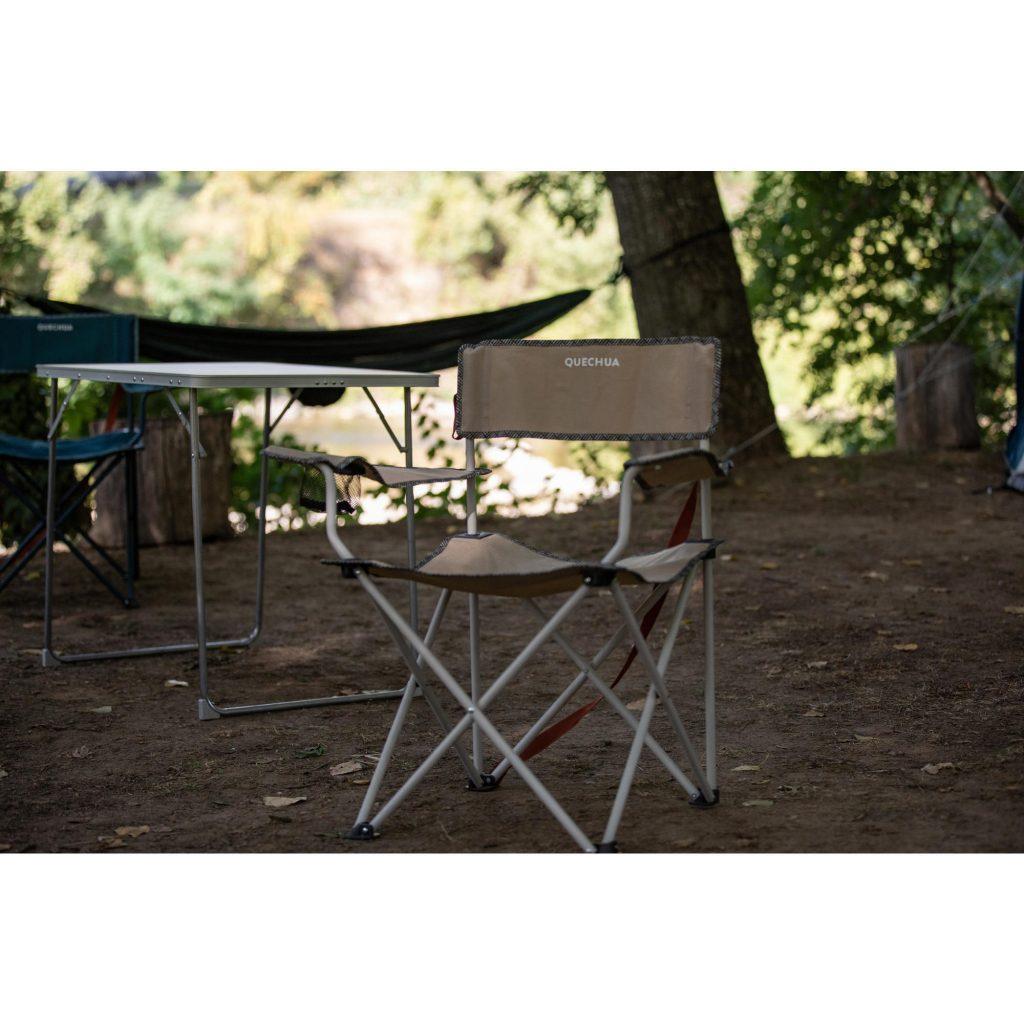 Katlanır Kamp Sandalyesi Dayanıklı Bej BASIC QUECHUA